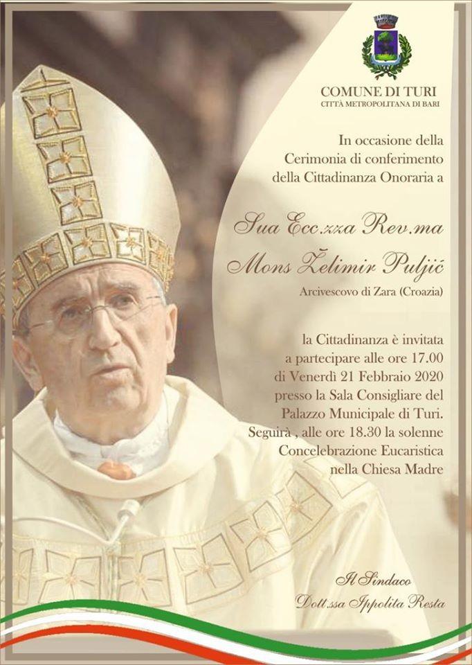 Cittadinanza onoraria turese al vescovo di Zara
