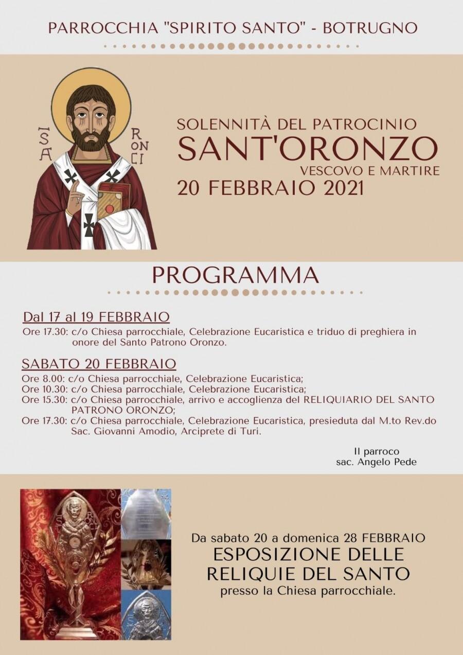 Botrugno Programma festeggiamenti 20 Febbraio